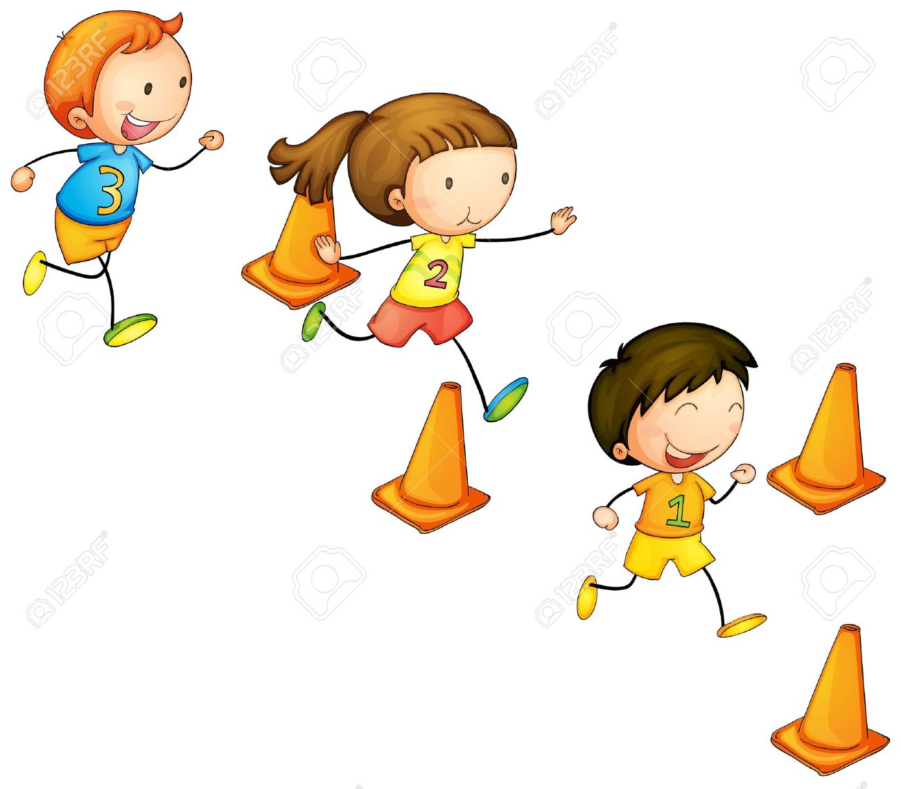 illustration of a running kids on a white background Stock Vector - 14049143