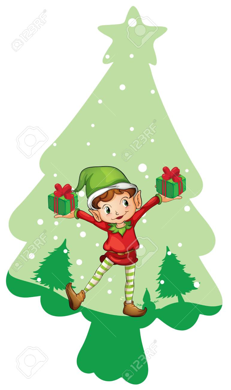 illustration of a boy with gift boxes on a white background Stock Vector - 14049169