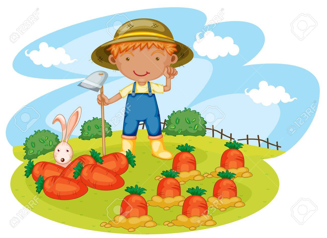 Illustration Of A Boy Working In Farms