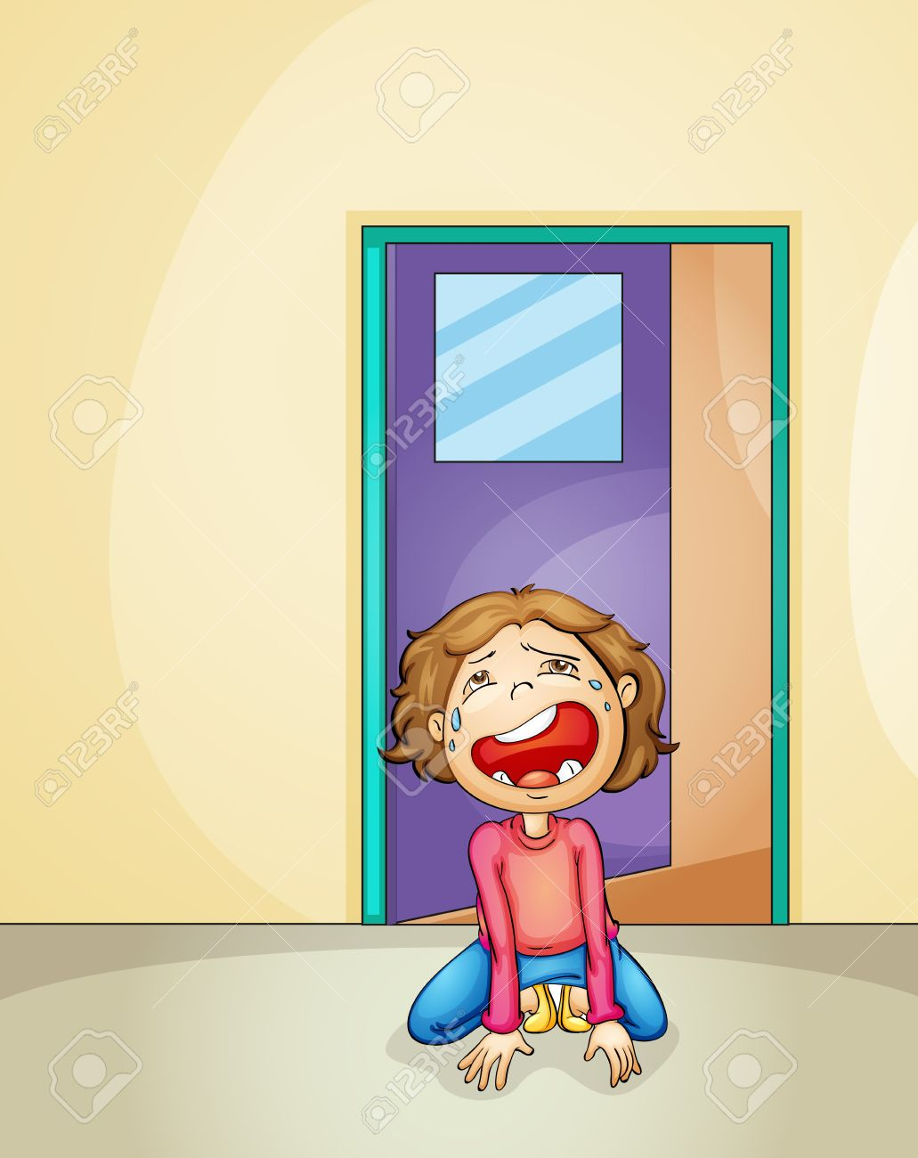 illustration of a boy crying alone at home Stock Vector - 14050878