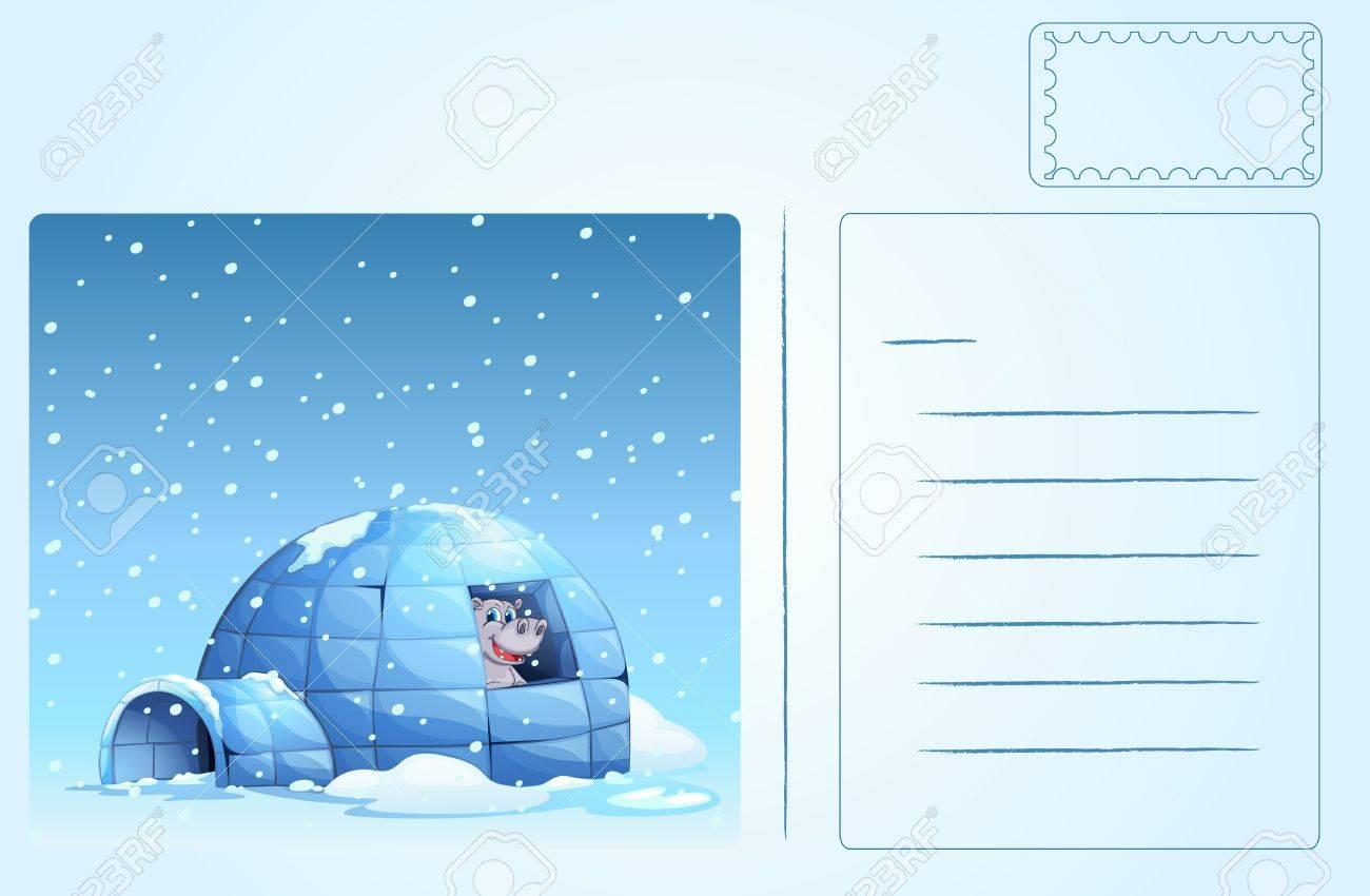 Illustration of an igloo postcard Stock Vector - 14106848