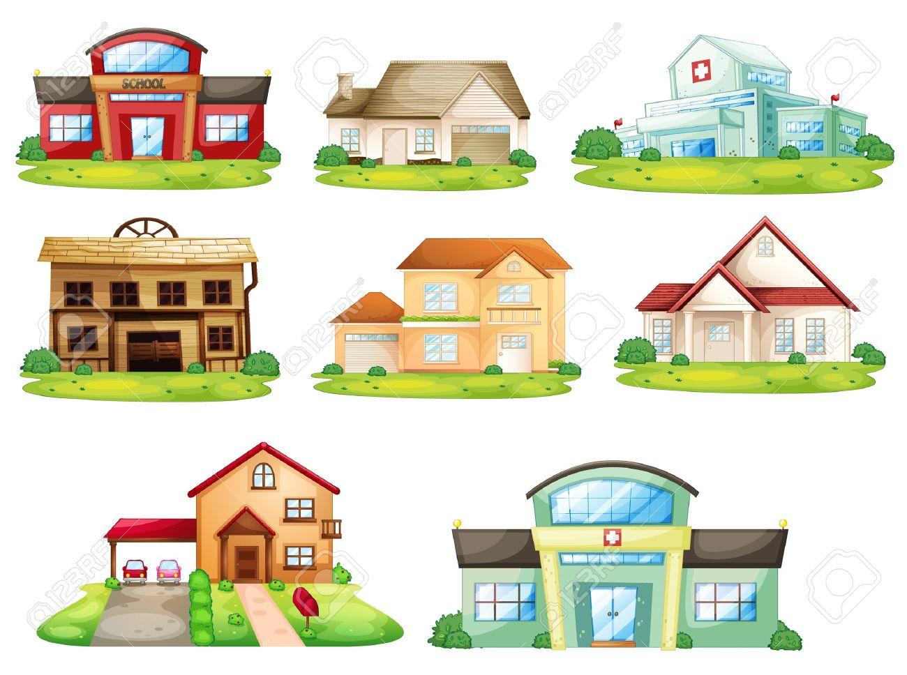 家および他の建物のイラストのイラスト素材ベクタ Image 14106871