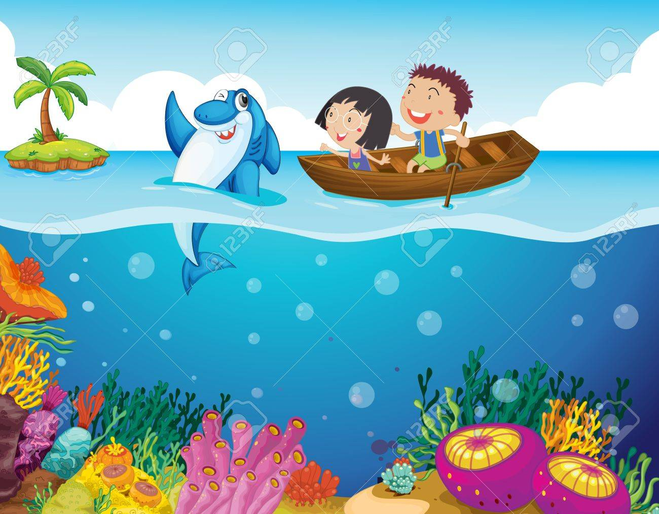 illustration of kids with a shark royalty free cliparts vectors