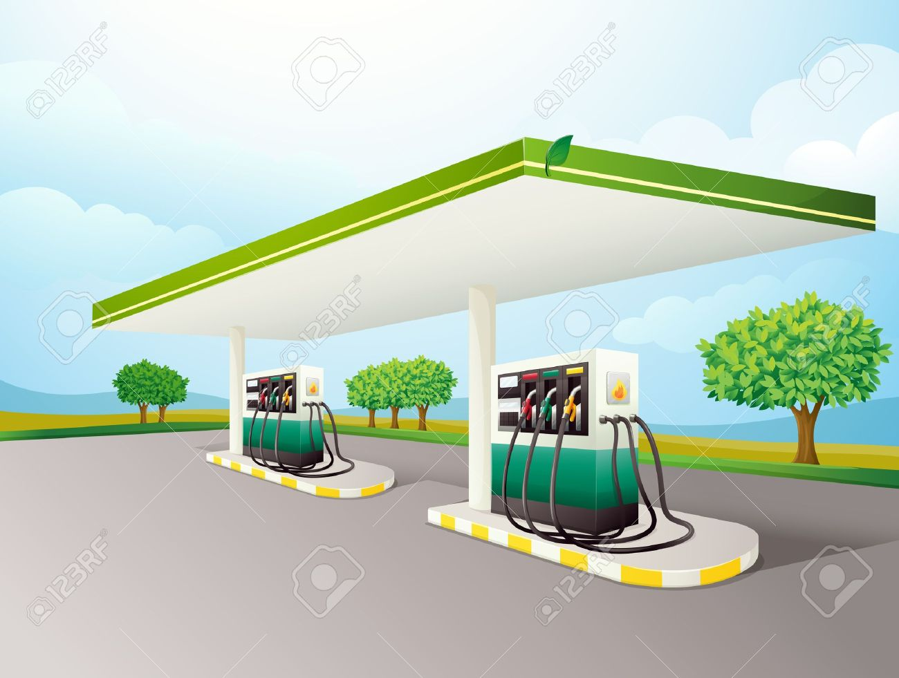 Illustration of a gas station scene Stock Vector - 14106860