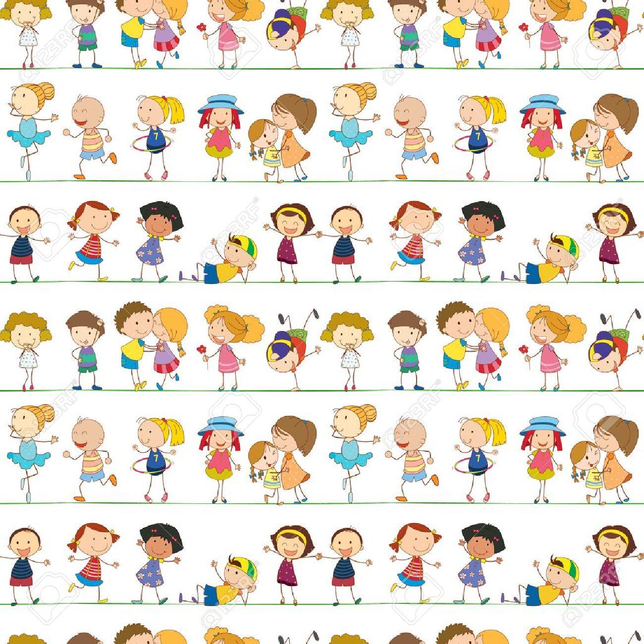 Illustration of seamless children pattern Stock Vector - 14107122