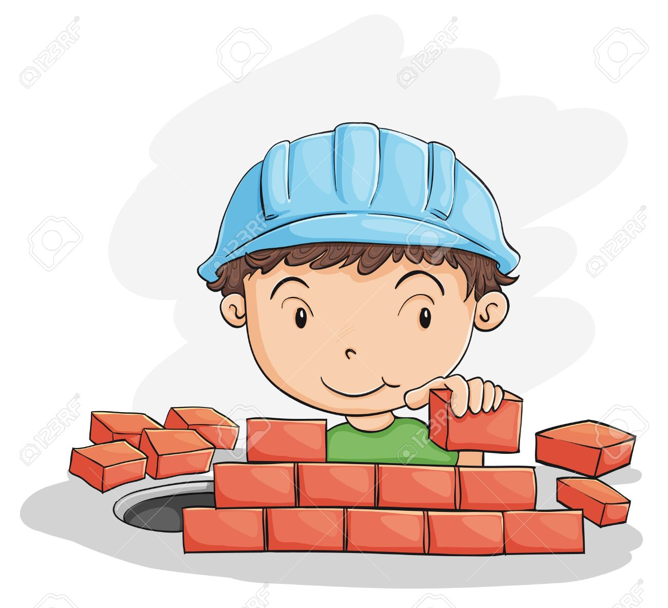 Illustration Of A Boy Building Wall On White Stock Vector