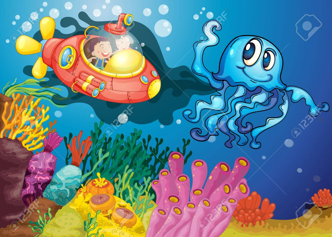 illustration of octopus and kids in submarine royalty free
