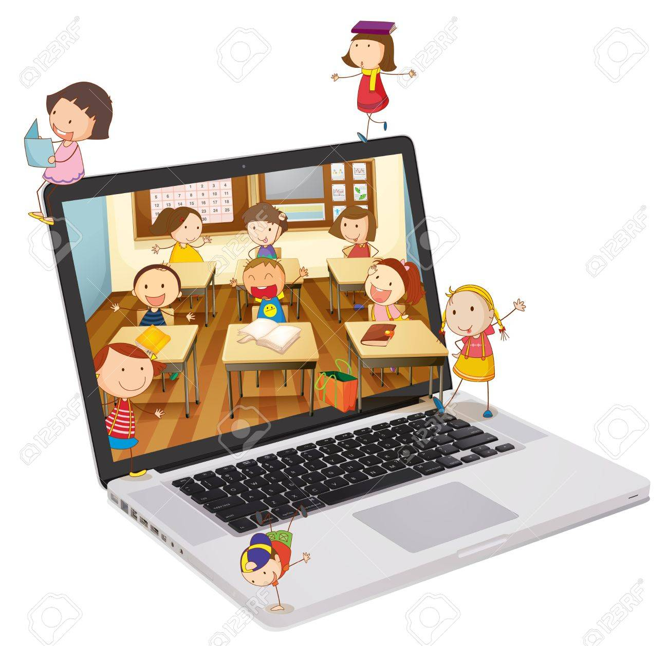 illustration of school students picture on a laptop Stock Vector - 14115129