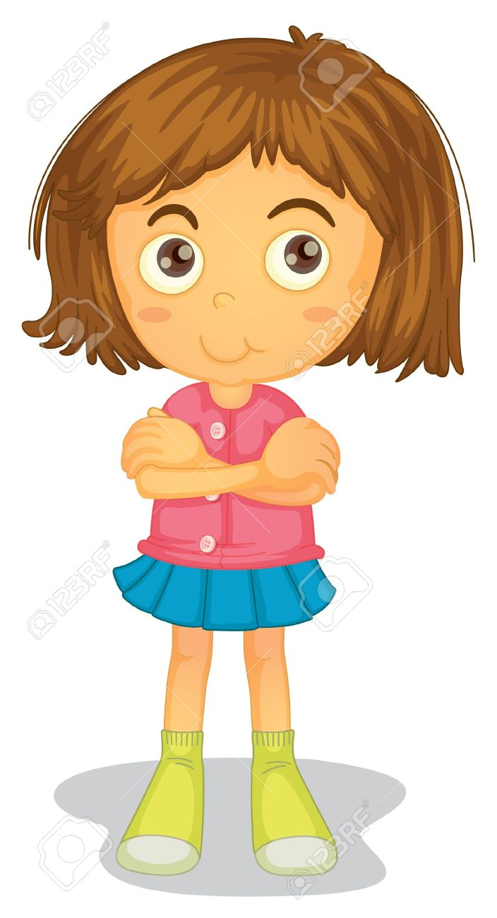 little girl cartoon illustration of a girl on a white background - Cartoon Picture Of Child