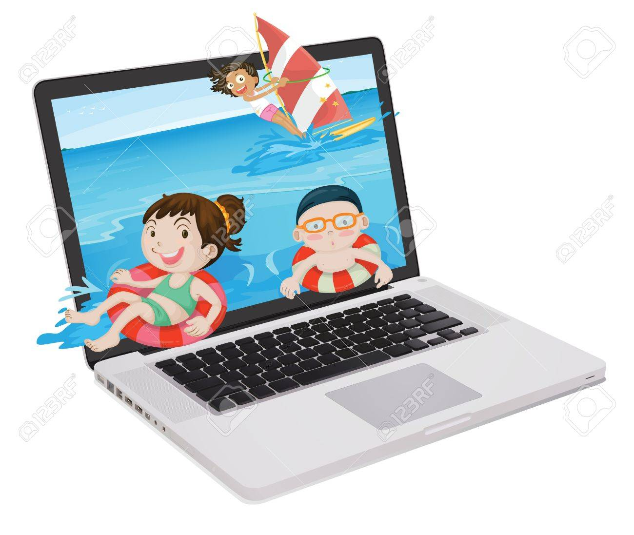 illustration of a laptop and kids on a white background Stock Vector - 14132401