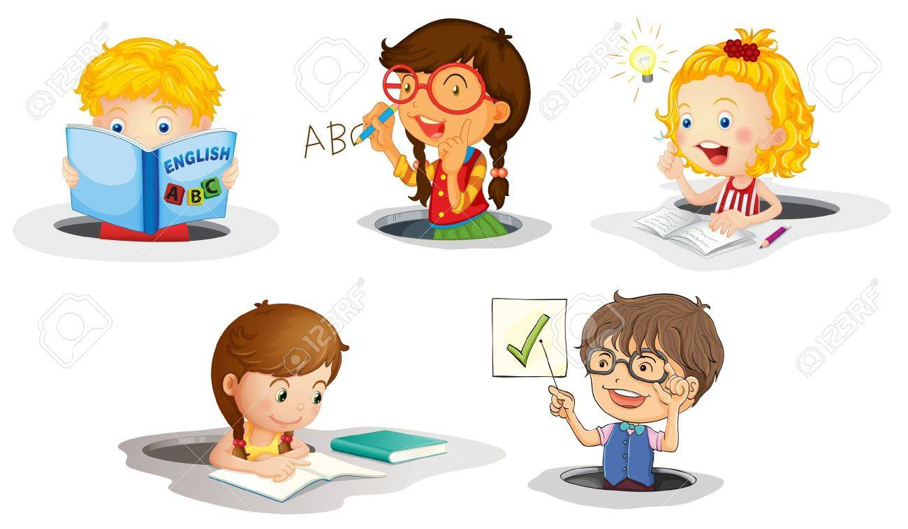 illustration of a kids studying on a white background - 14132394