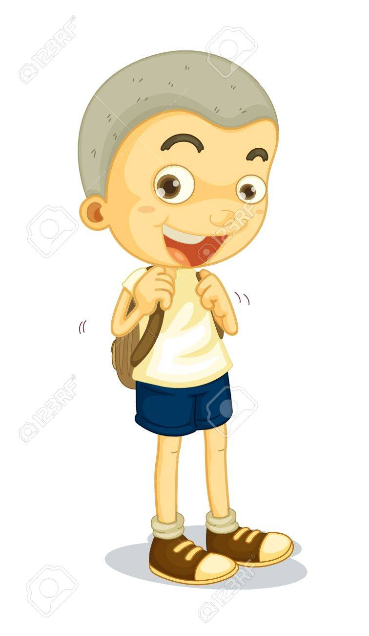 illustration of a boy carrying schoolbag on white Stock Vector - 14132308