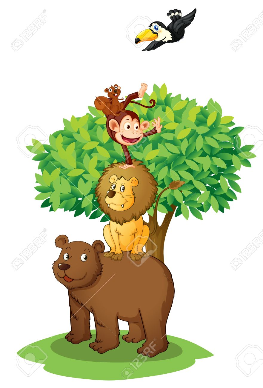 illustration of animals under the tree on white Stock Vector - 14132390
