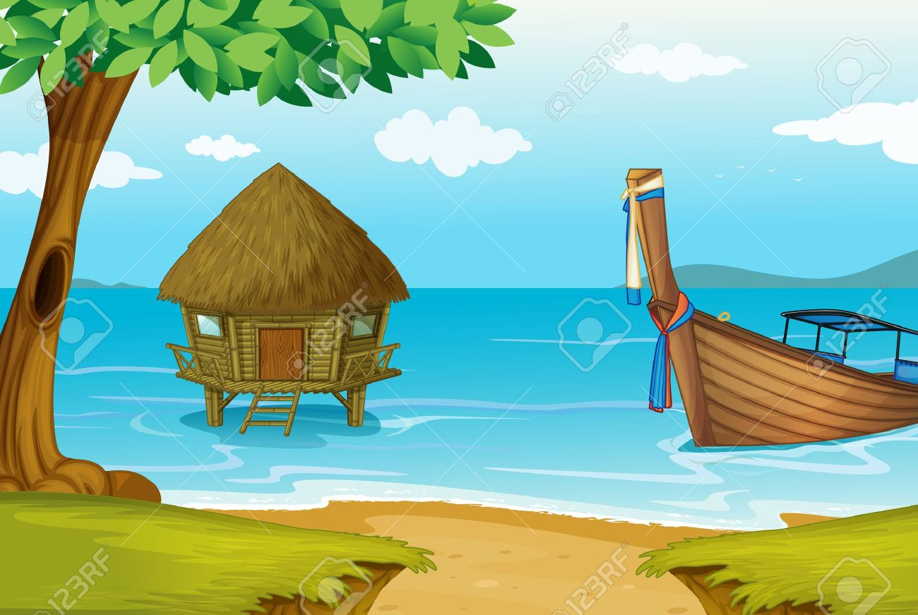 illustration of a house on water on a white background Stock Vector - 14253833
