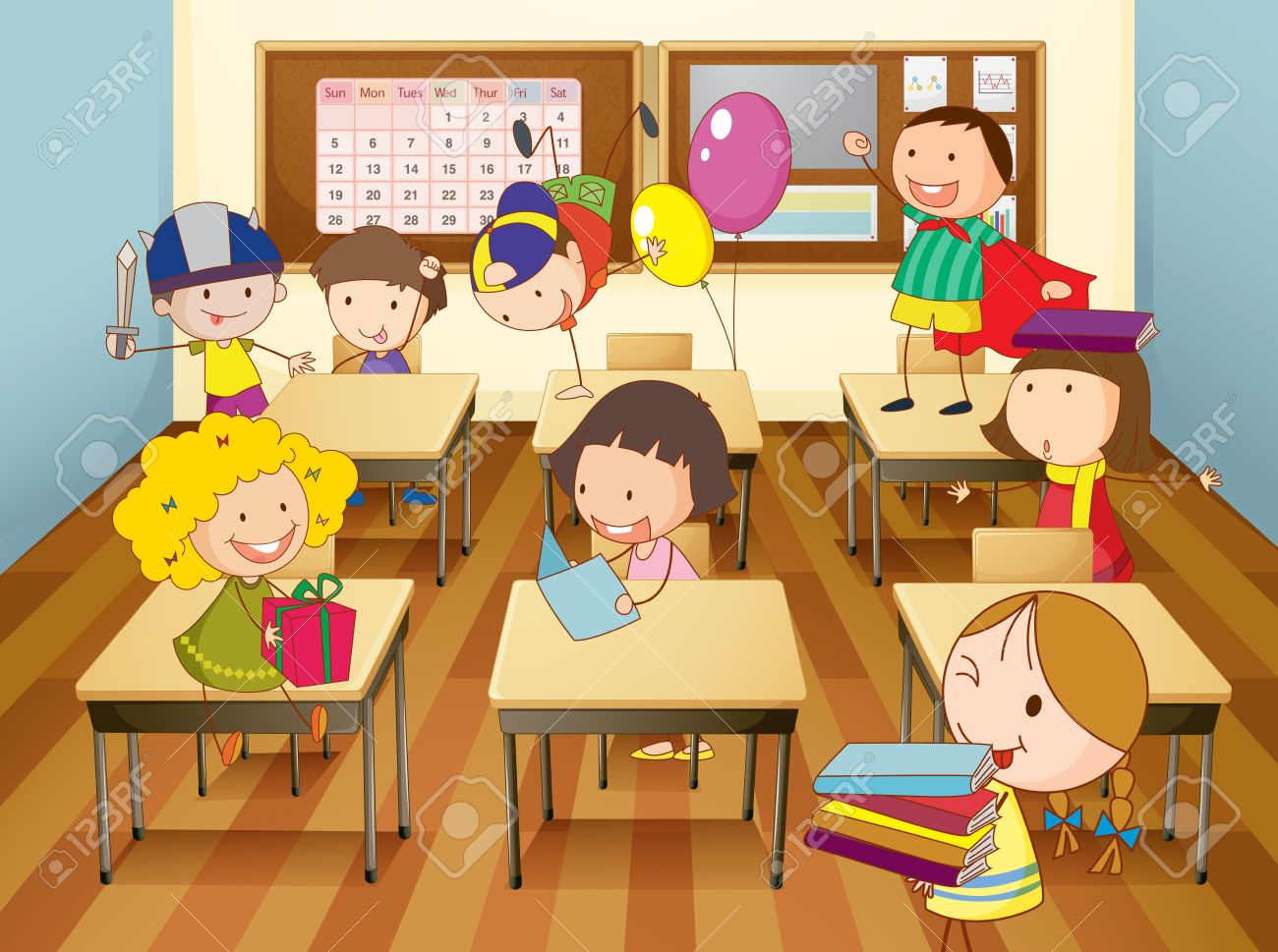 illustration of a kids studying in classroom royalty free cliparts