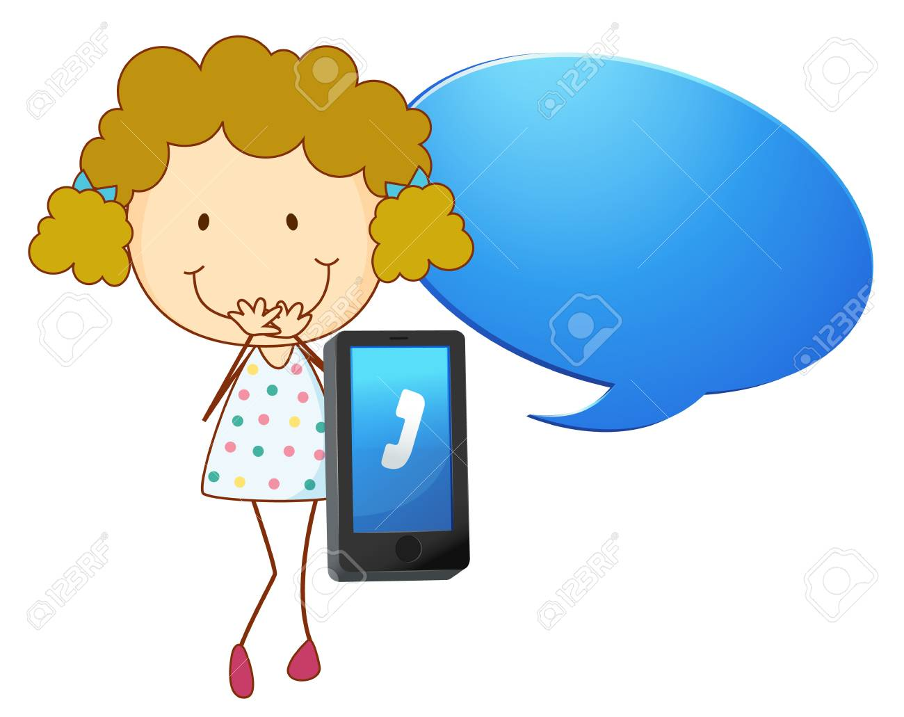 illustration of a girl with cell phone on a white Stock Vector - 14253701