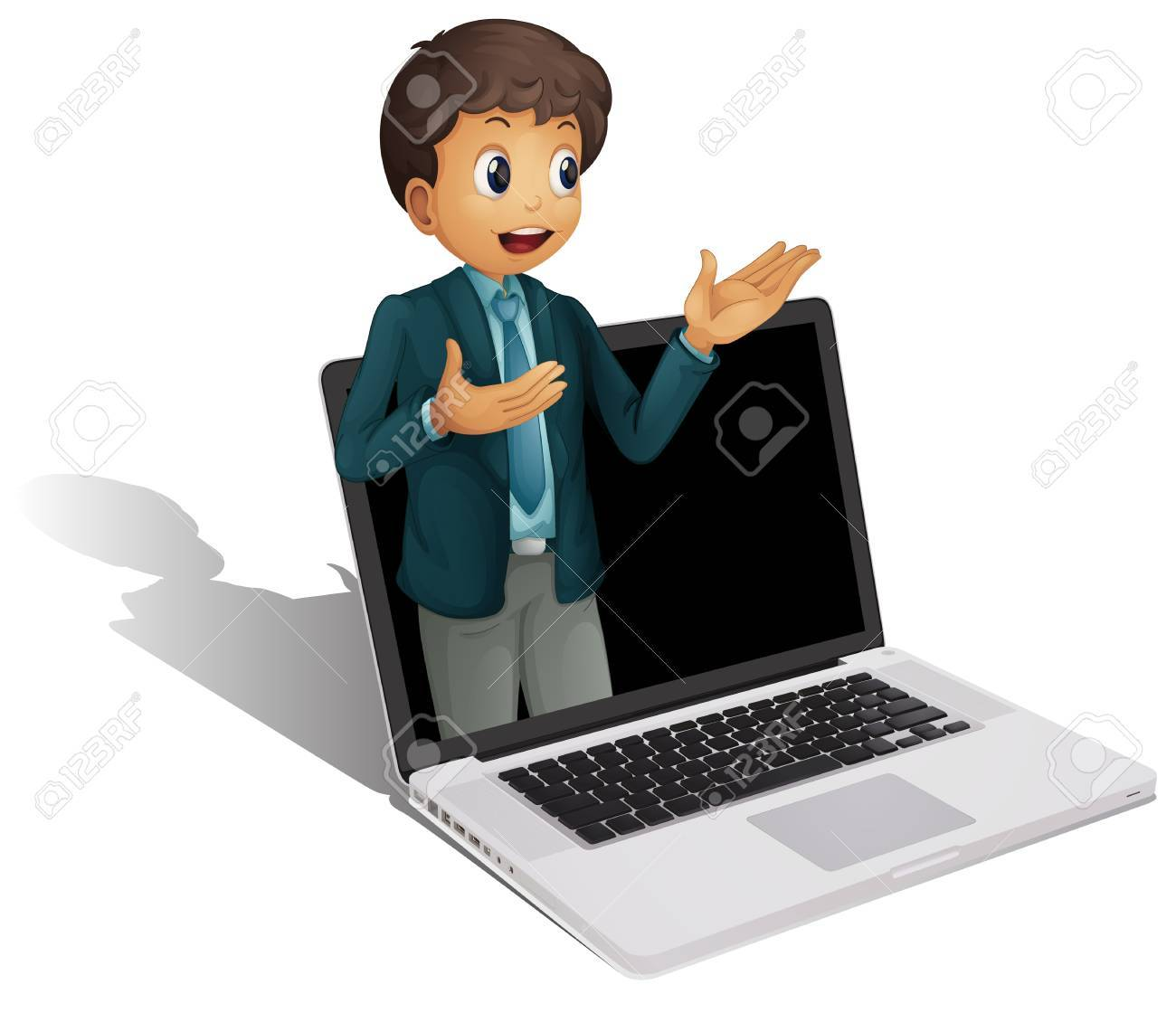illustration of a laptop and man on a white background Stock Vector - 14253804