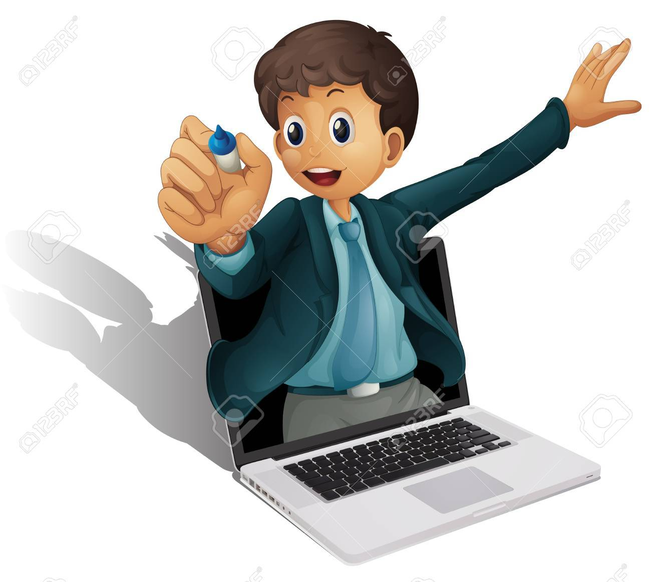 illustration of a laptop and man on a white background Stock Vector - 14253831