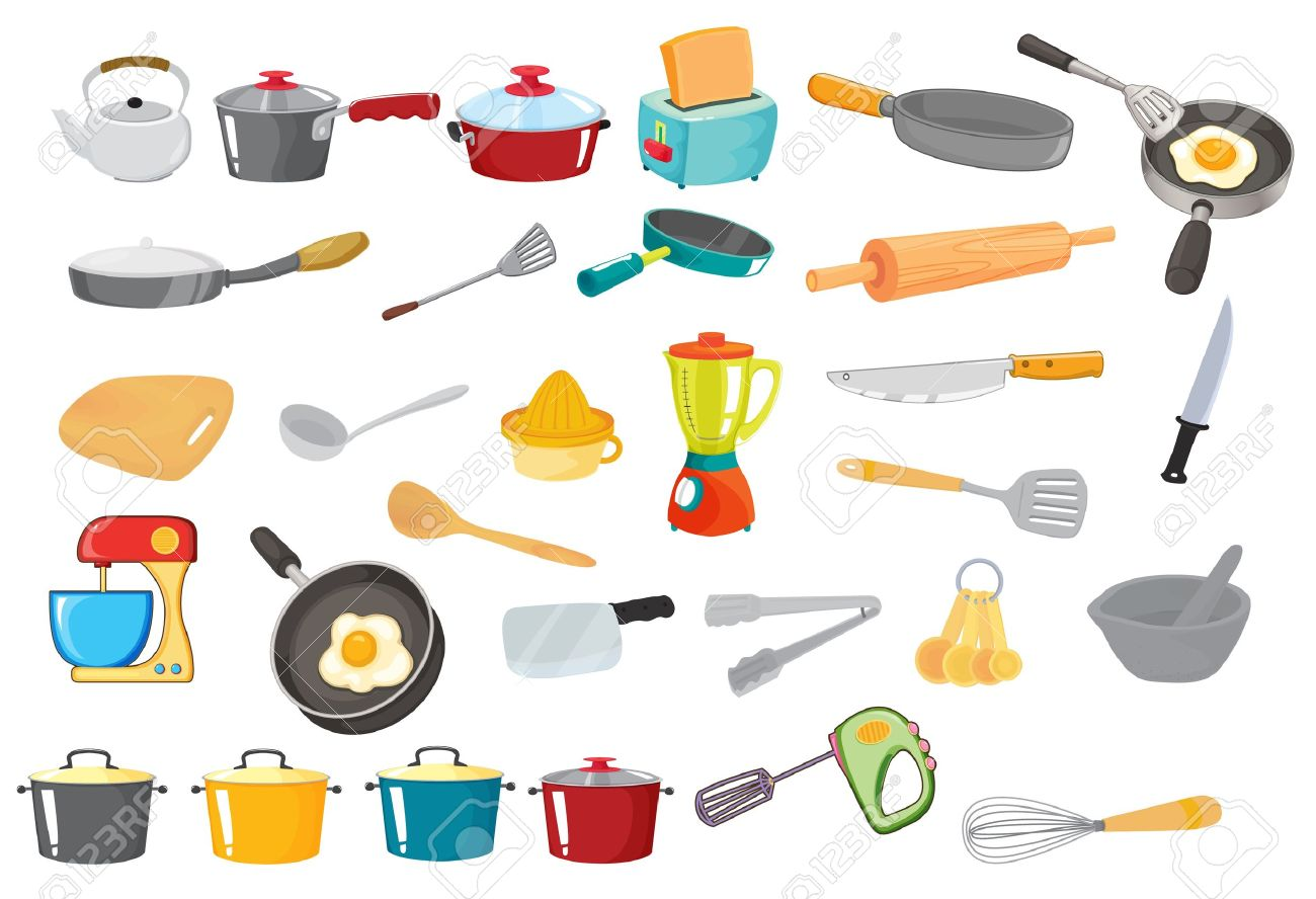 illustration of various utensils on a white Stock Vector - 14253739