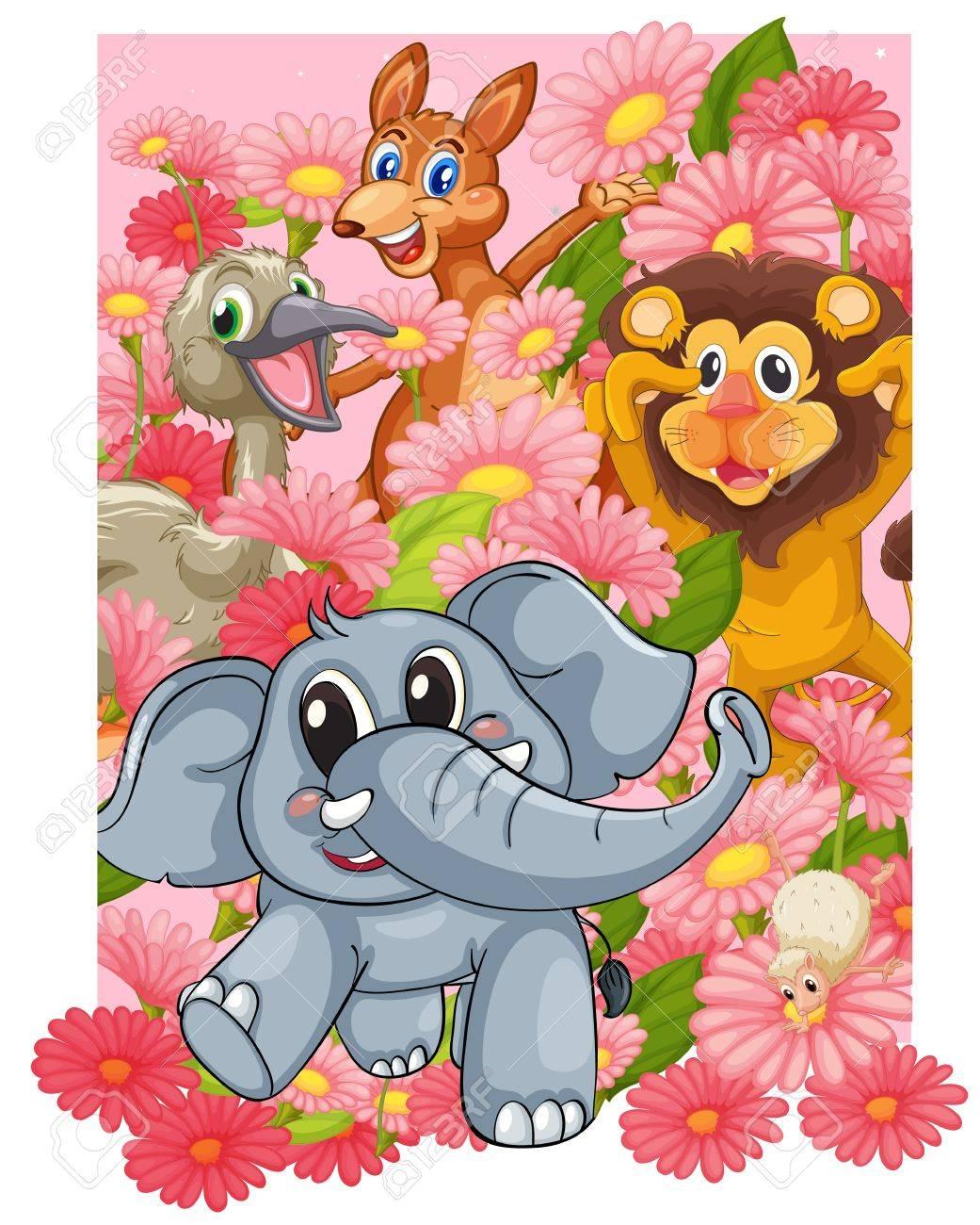 花の中に様々 な動物のイラスト ロイヤリティフリークリップアート
