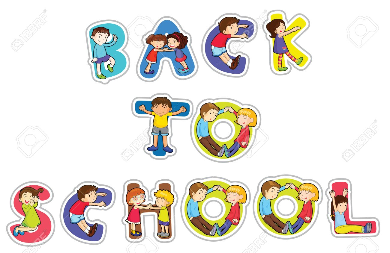 illustration of english word back to school on a white background Stock Vector - 14347270