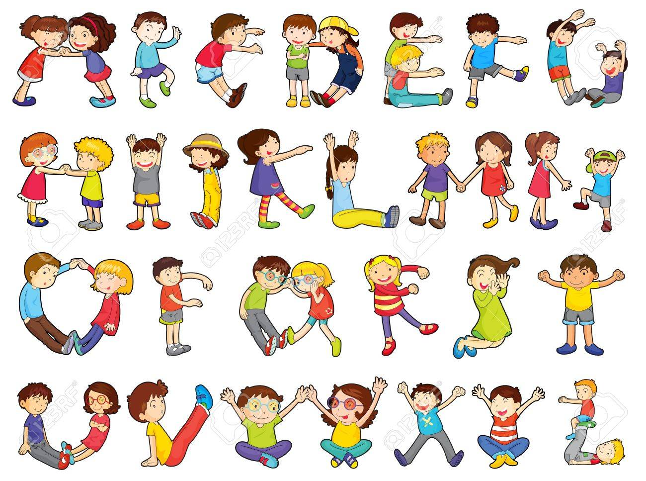 illustration of alphabets in kids activities on a white background Stock Vector - 14347326