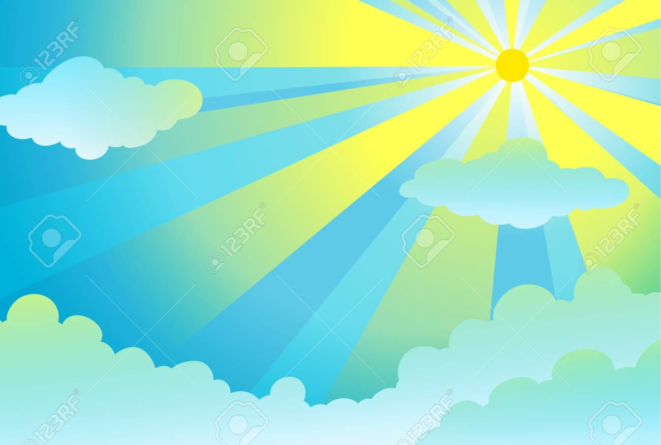 illustration of light rays in the sky Stock Vector - 14347228