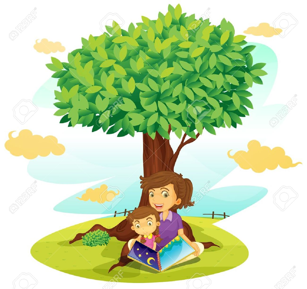 illustration of a boy and girl studying under tree Stock Vector - 14347145
