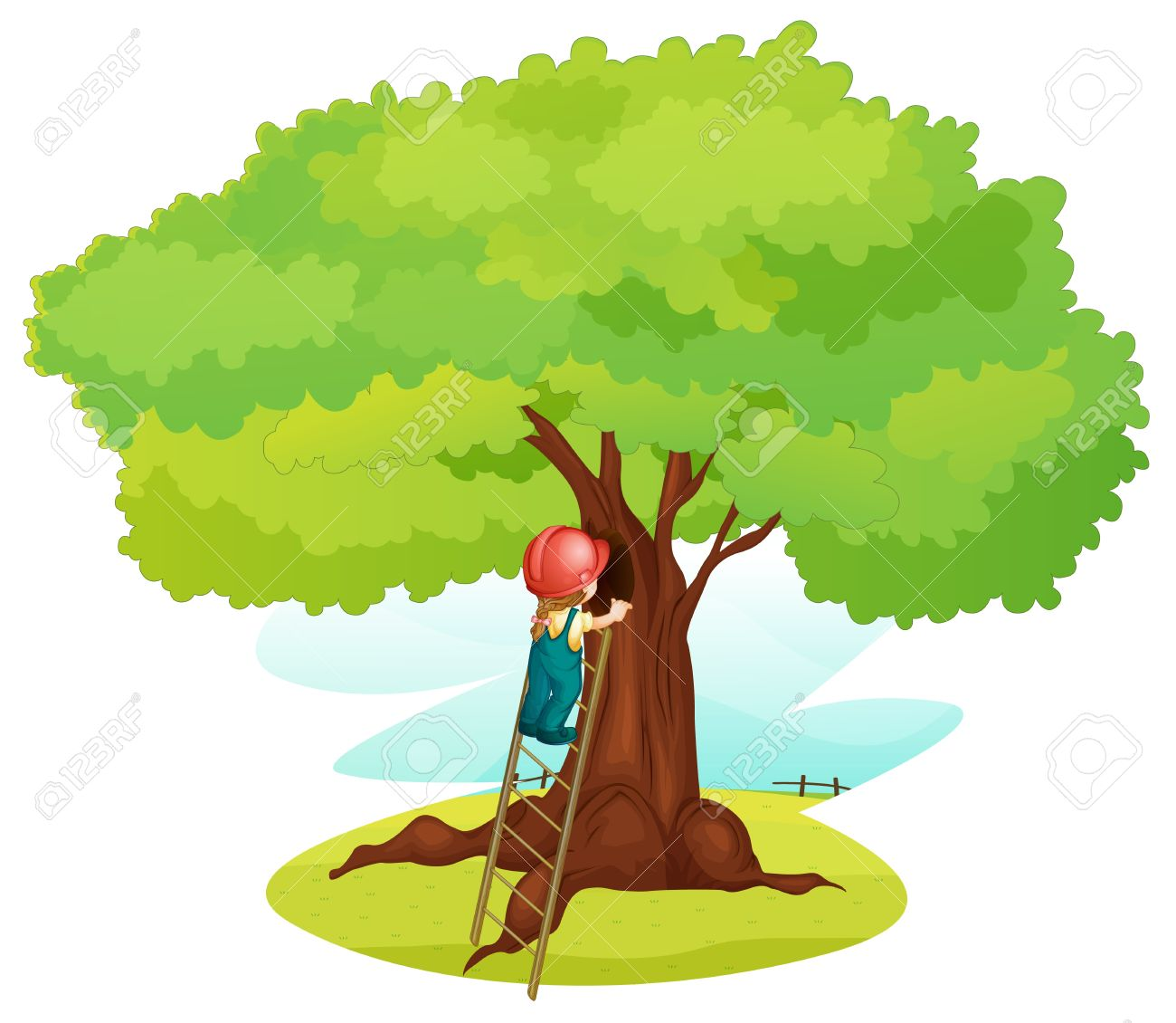 illustration of a boy and ladder under tree Stock Vector - 14347169