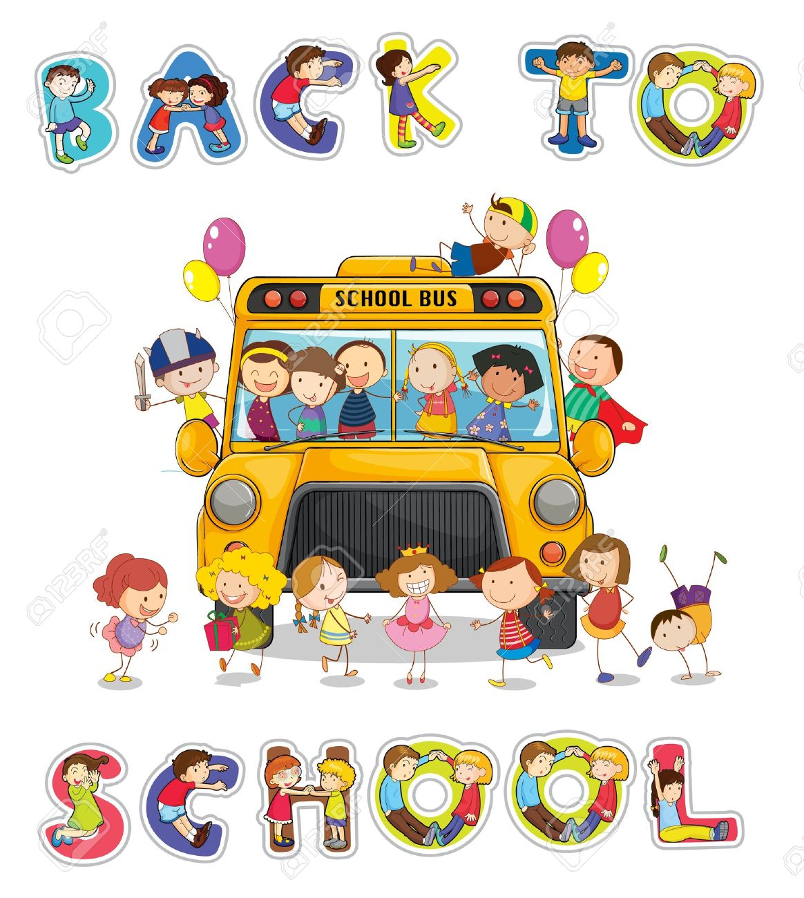 Illustration Of School Bus And English Word Back To School Royalty Free Cliparts Vectors And Stock Illustration Image 14347309