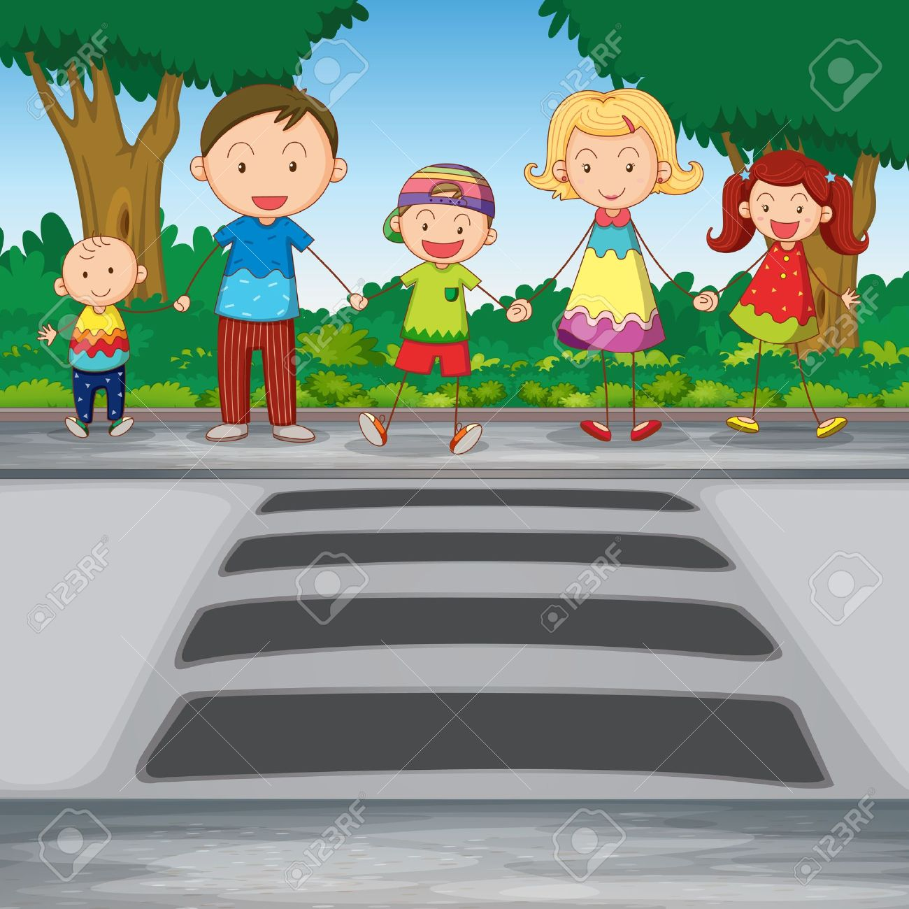 illustration of family waiting for crossing road Stock Vector - 14347315