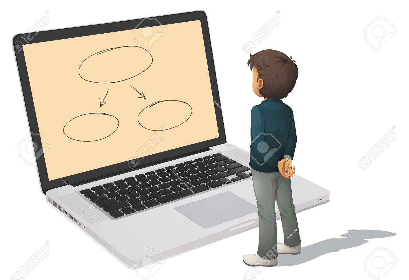 illustration of a laptop and man on a white background Stock Vector - 14411837