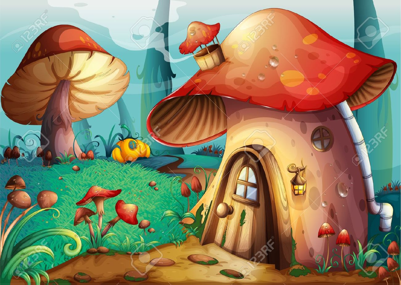 illustration of red mushroom house on a blue background Stock Vector - 14411830