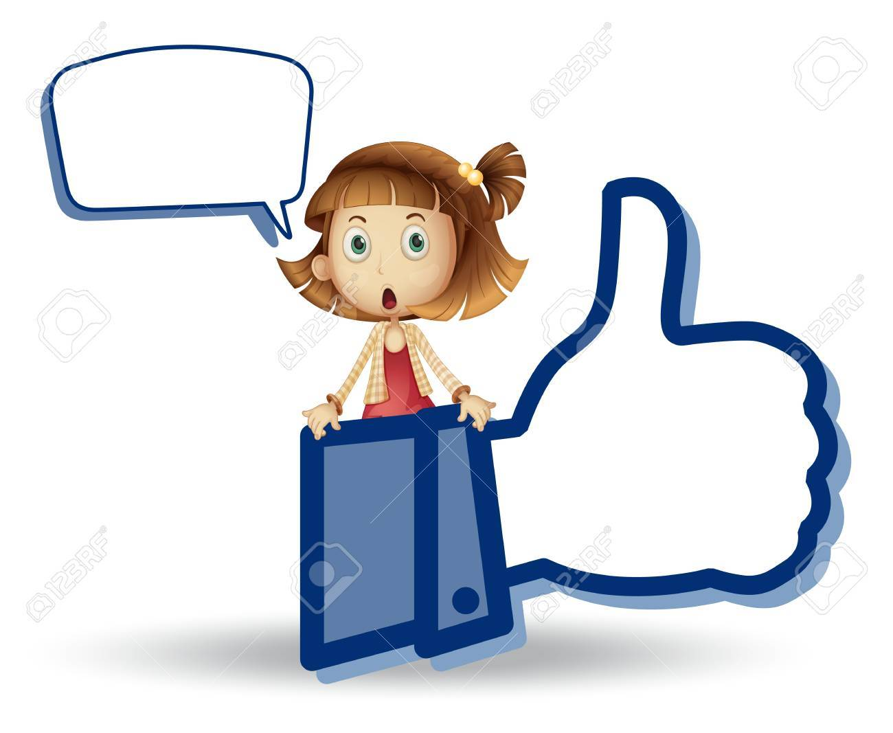 illustration of girl showing thumb picture on a white Stock Vector - 14528928
