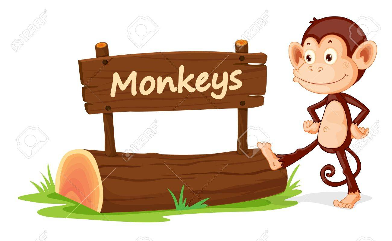 illustration of monkey and name plate on a white Stock Vector - 14607984