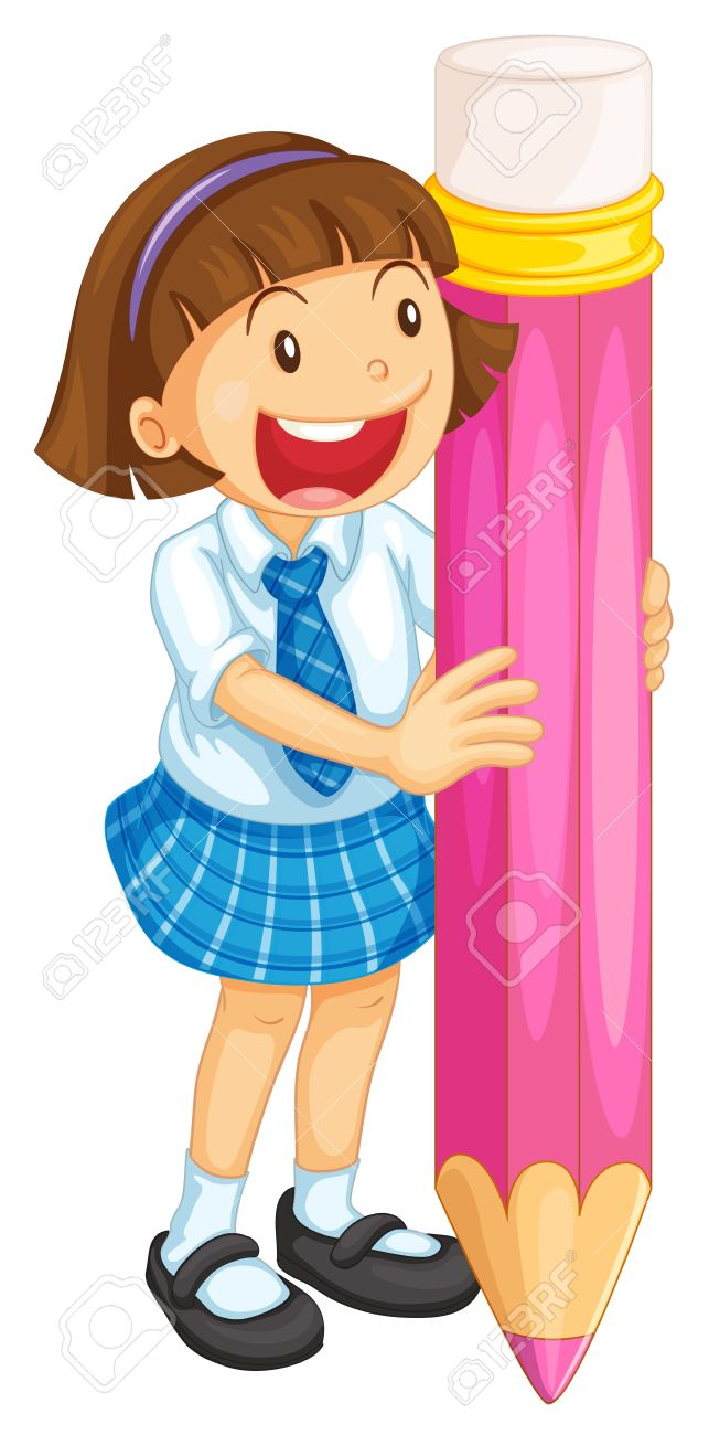 illustration of a girl holding pencil on a white Stock Vector - 14840918