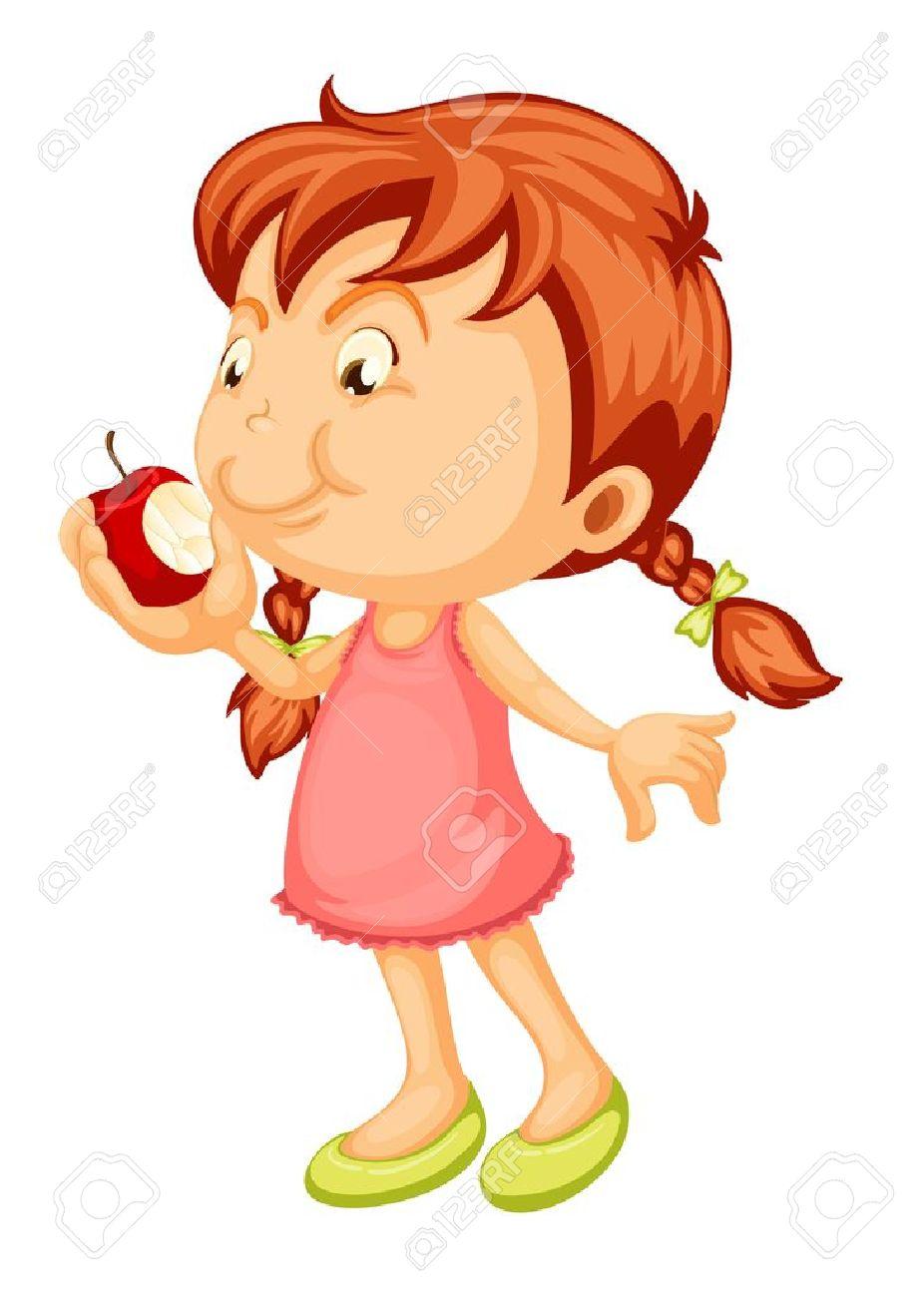 白い背景の上にアップルをかむ女の子のイラスト ロイヤリティフリー