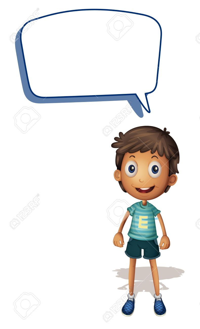 illustration of a boy and call out on a white background - 14841270
