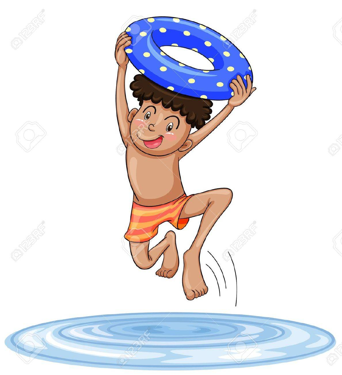 illustration of a boy diving into water on a white background Stock Vector - 14871416