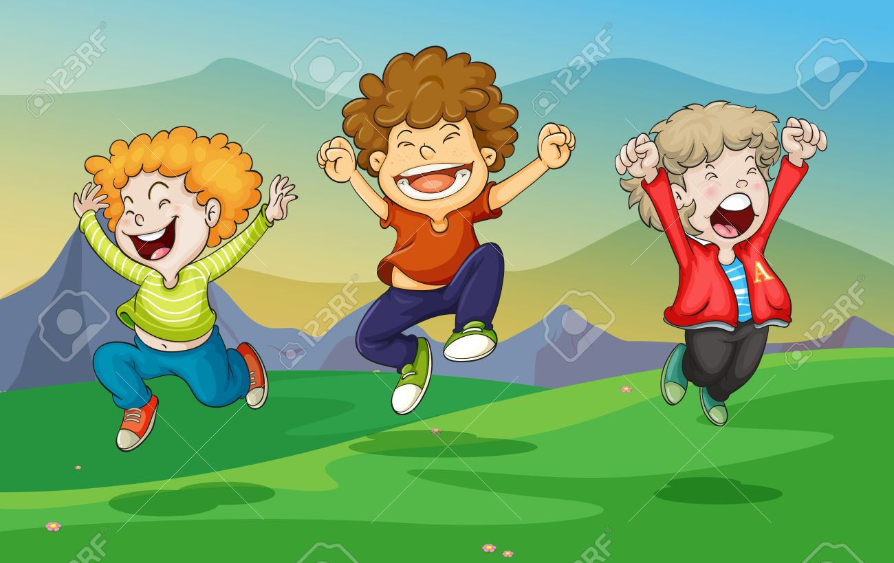 illustration of a kids playing in nature Stock Vector - 14878892