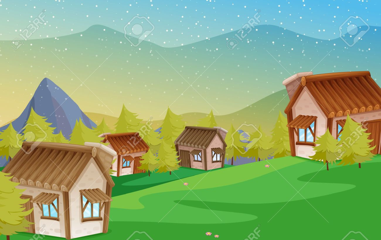 illustration of a colony of houses in nature Stock Vector - 14879332