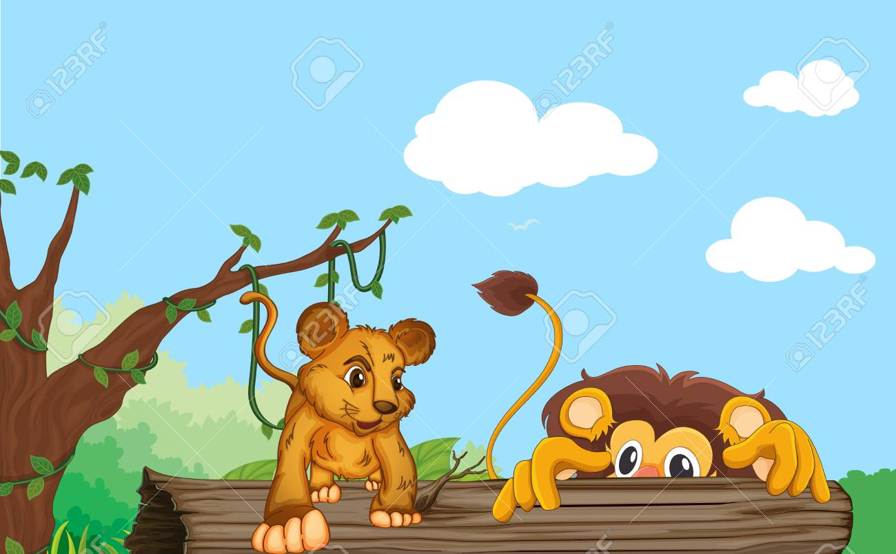 illustration of a cub and lion in nature Stock Vector - 14879106
