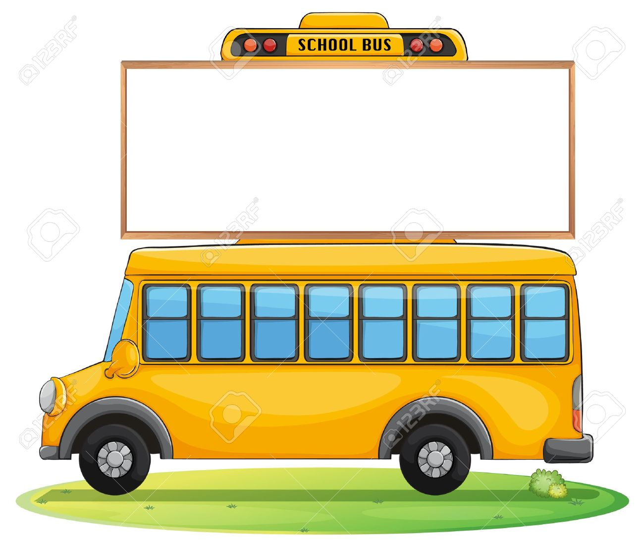 illustration of a school bus and board on road royalty free cliparts rh 123rf com Freightliner Bluebird School Bus Speeding School Bus Clip Art