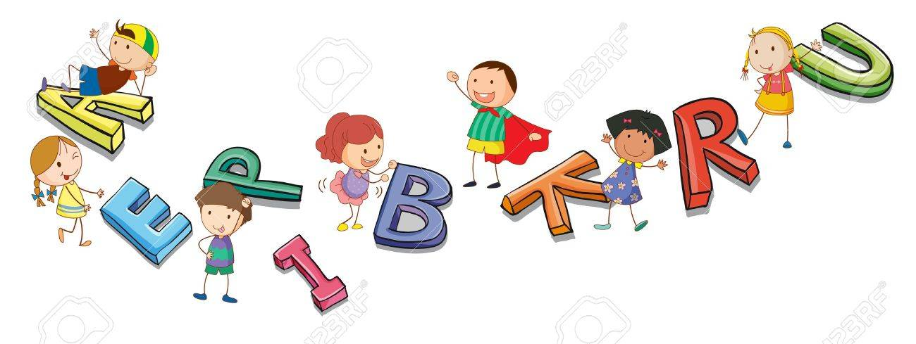 illustration of a kids playing with alphabets Stock Vector - 14891686