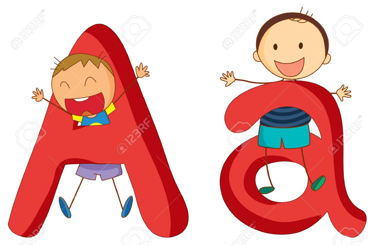 illustration of children in a letter of alphabet royalty free