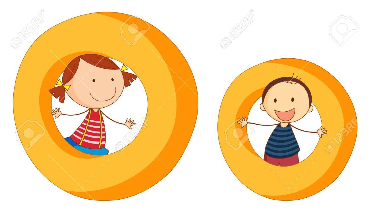 Illustration of children in a letter of alphabet Stock Vector - 14887379