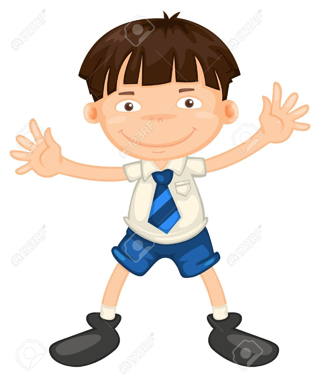 Illustrtion Of A Boy In School Uniform On White Royalty Free ...