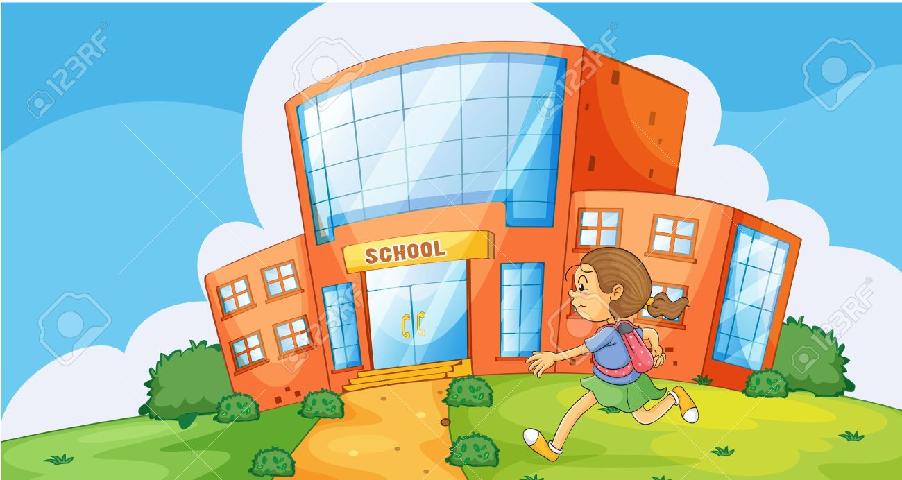 School Window Clipart illustration of a girl running infront of school royalty free