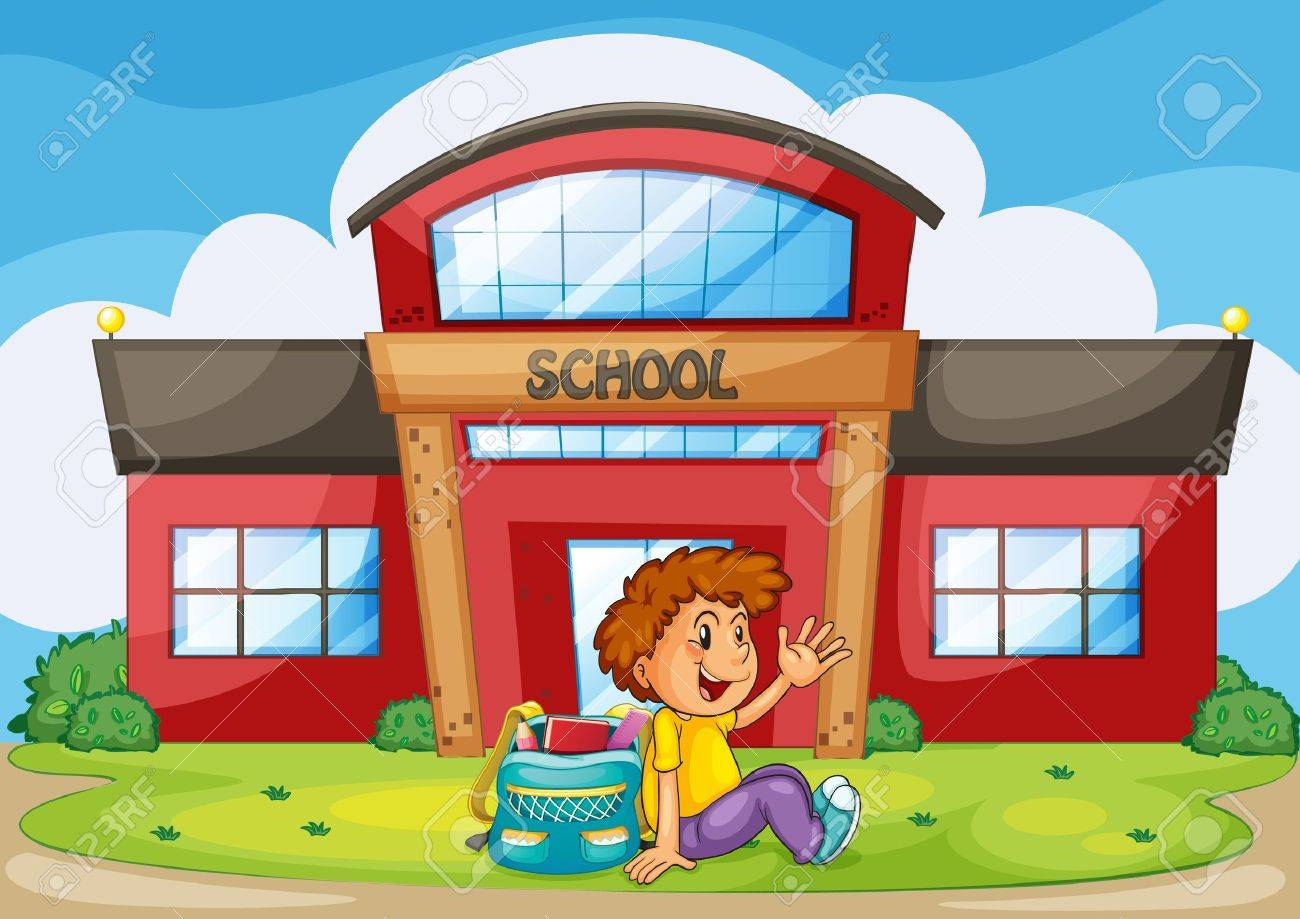 illustration of a boy infront of school Stock Vector - 14887579