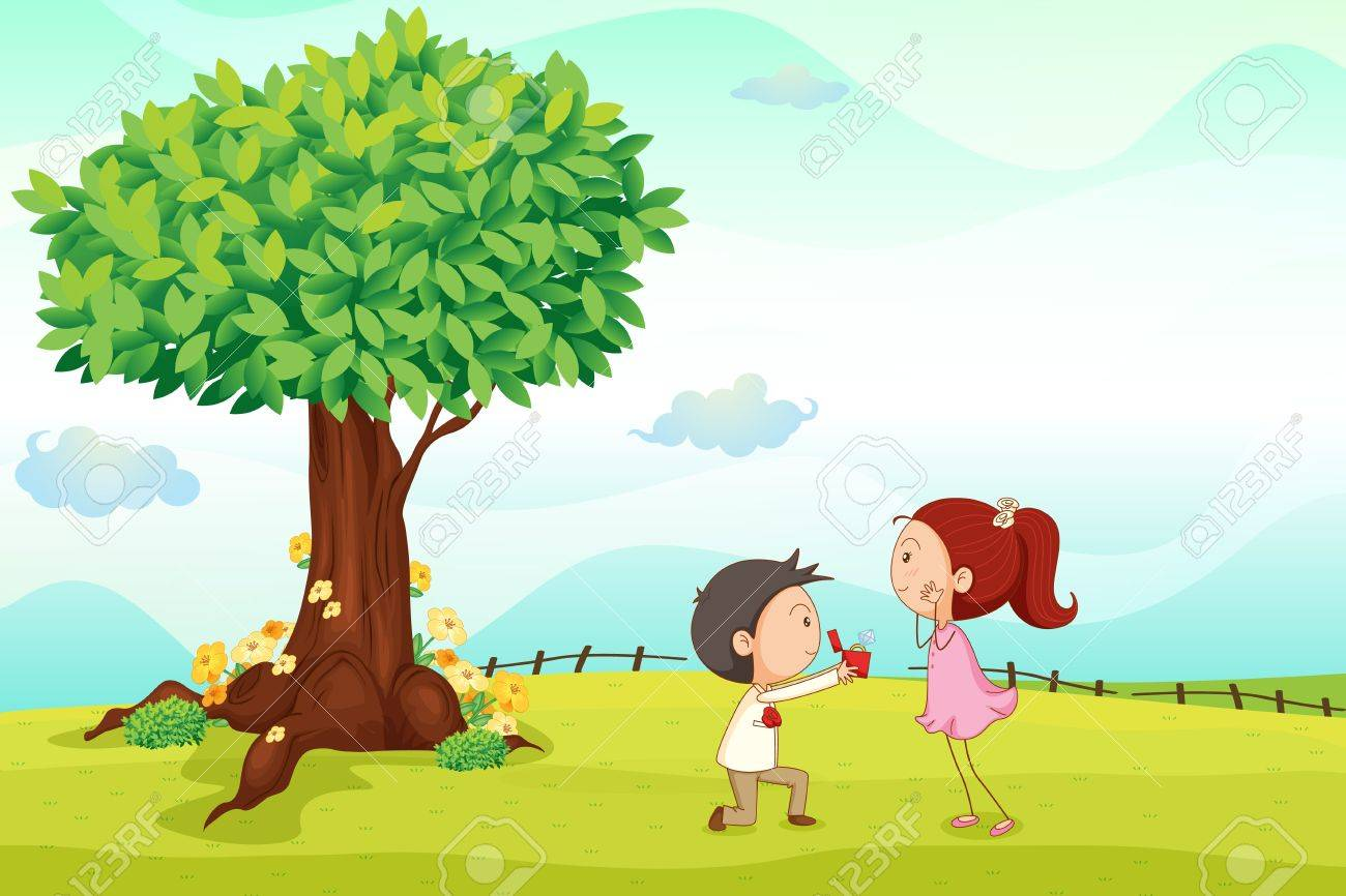 illustration of kids playing around tree in a nature Stock Vector - 14891689
